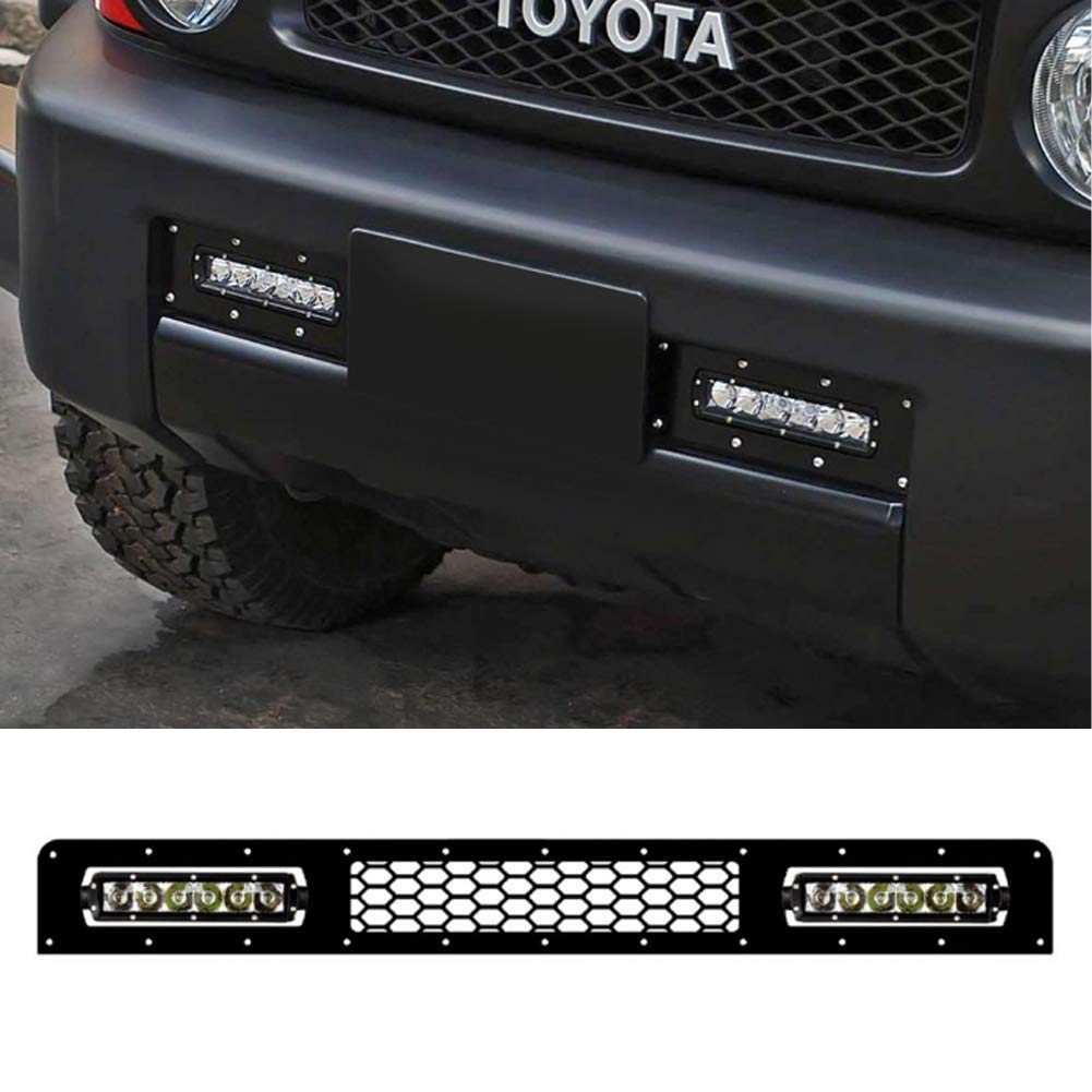 Bumper Grille Kit with Single Row 8 Inch 30w CREE LED Light Bar for 2005-2014 Toyota Fj Cruiser Roof Rack Mount Jubatus KURUMAPOP