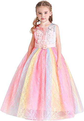 Floral Lace Flower Girl Pageant Birthday Party Princess Bridesmaid Dress Wedding