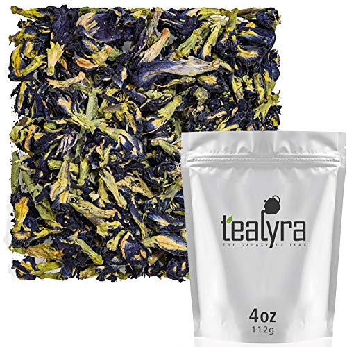 - Tealyra - Blue Butterfly Pea Flower Tea - 100% Natural Dried Pure Whole Flower - Organically Grown in Thailand - 112g (4-ounce)
