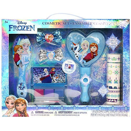 (Disney Frozen Anna, Elsa and Olaf Hair and Beauty Kit, Includes: Lip Gloss Palette, Light Up Mirror, Hair Comb, Hair Bows and Nail Stickers.)