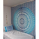 Wall Decor Blanket Hippie Tapestry, Bohomein Art,bedsheet, Hippie Gypsy Wall Hanging, Picnic Blanket Age Dorm Tapestry (Blue Ombre, Twin)