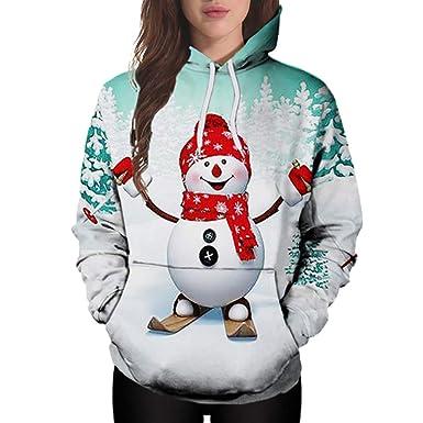 Darringls Chaqueta Navidad Mujer Invierno,Abrigos de Chaqueta con Capucha Informal Parka Muñeco de Nieve Manga Larga: Amazon.es: Ropa y accesorios