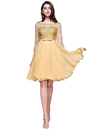 Fanny Womens Sheer Long Sleeve Short Prom Dresses With Rhinestone Sequins Beads Bateau Open Back Homecoming