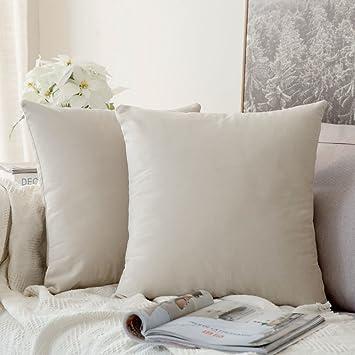MIULEE Pack de 2, Terciopelo Suave Juego de Mesa de Manta de decoración Cuadrado Fundas de Almohada Funda de cojín para sofá Dormitorio Coche 16 * 16 ...