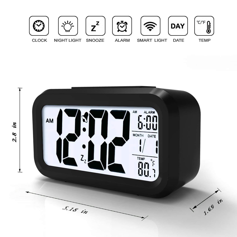 Kingterence Reloj Despertador Digital, Despertador con luz Trasera, Temperatura, Posponer, Pantalla Grande de dígitos, Despertador para Dormitorio/Viaje de ...