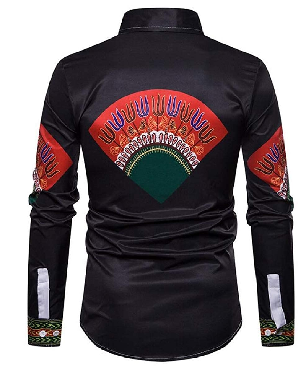 FLCH+YIGE Mens African Print Dashiki Shirts Long Sleeve Button Down Classic Shirt