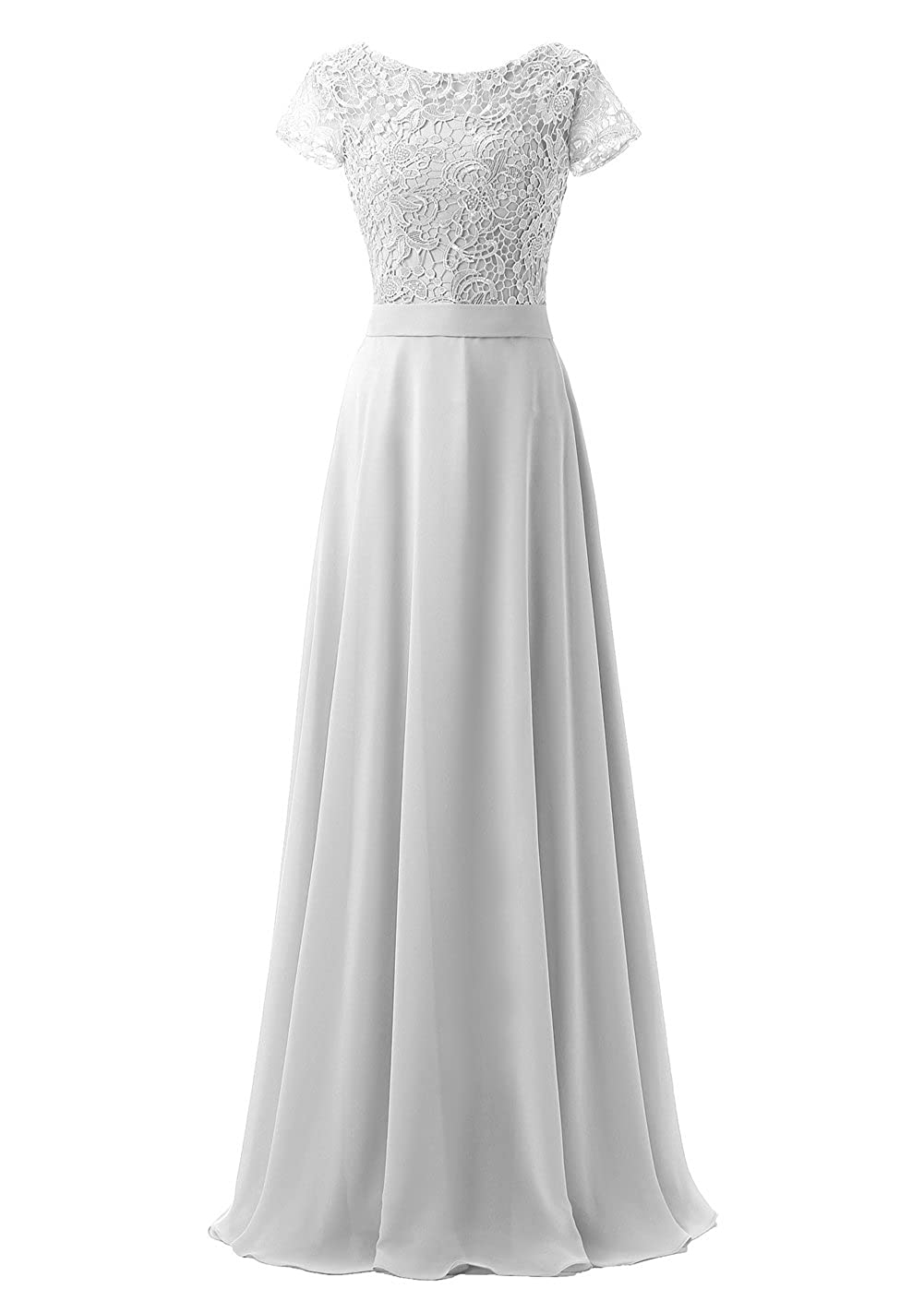 Callmelady High Neck Chiffon Lace Long Evening Dresses for Women with Short Sleeves