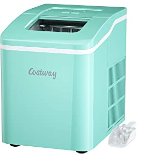 COSTWAY Ice Maker for Countertop, Bullet Ice Cubes Ready in 8 Mins, 26LBS/24H portable Ice Machine with Self-cleaning Function, Scoop and Removable Basket for Home, Office, Party and Bar (Green)