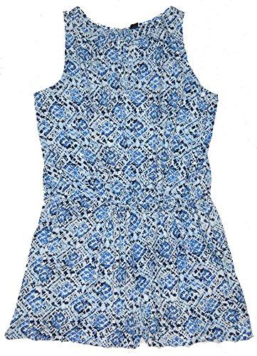 GAP Womens Blue Print Split Neck Tank Drawstring Shorts Romper XL (Gap Drawstring)