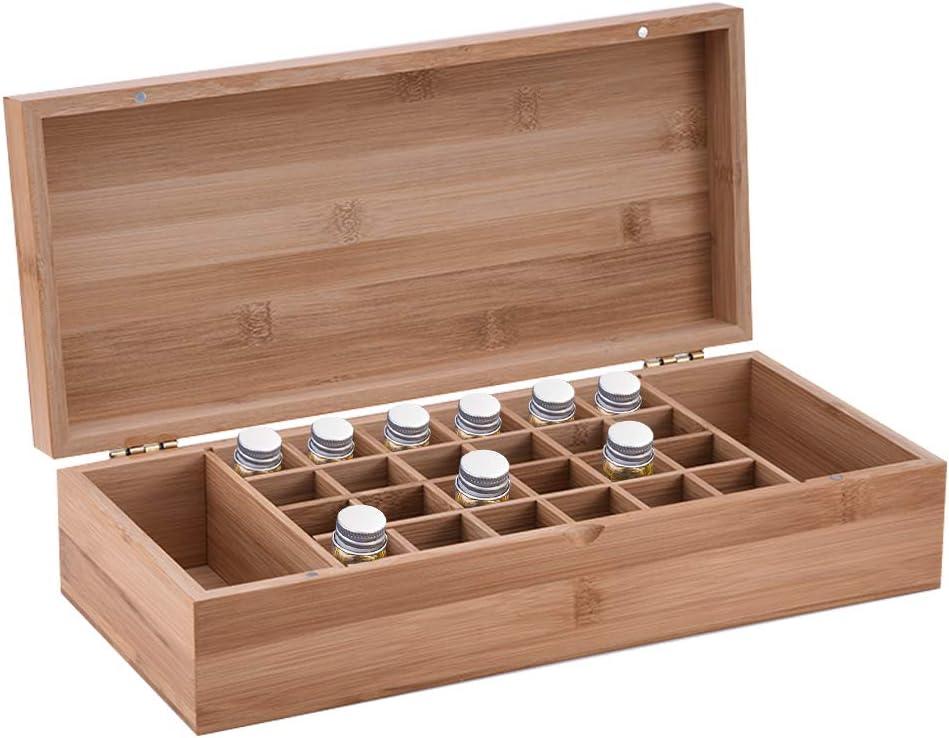 LDSHW Caja de Almacenamiento de Aceite Esencial 26 cuadrículas, los promotores móviles de bambú de Aceite Esencial Presente Soporte de Almacenamiento de uñas aromaterapia Pintura Marco