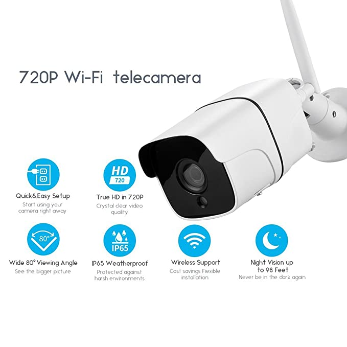 WiFi Camera Outdoor Wireless IP Security Camera with Night Vision up to  65ft Motion Detection Alarm/Recording, Support Max 64GB SD Card (External)