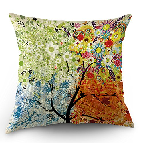 Moslion Tree Pillow Case Four Seasons Spring Summer Autumn Winter Art Tree Throw Pillow Case 18
