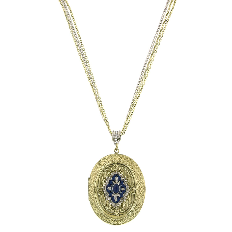 1928 Jewlery Brass Oval Locket Necklace 30