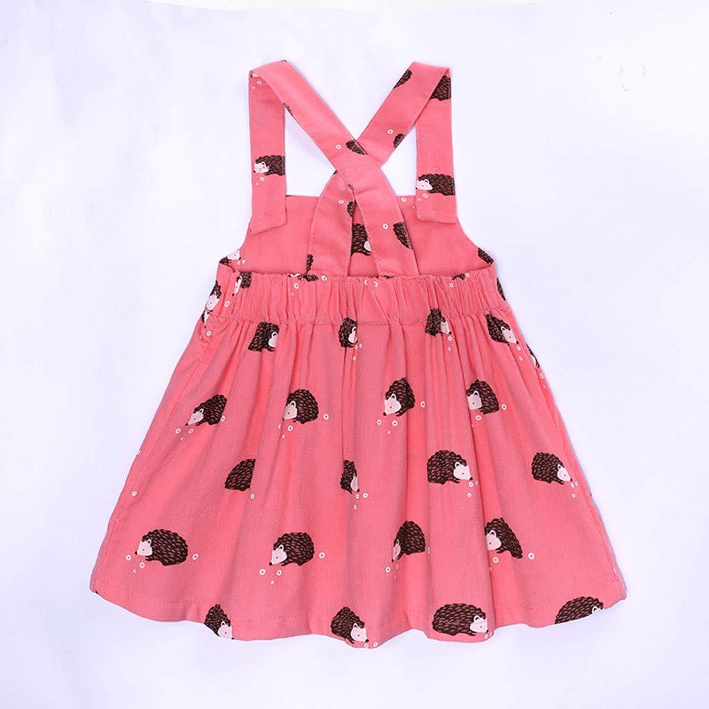 GUTTEAR Girls Kid Sleeveless Cartoon Hedgehog Print Overalls Dress
