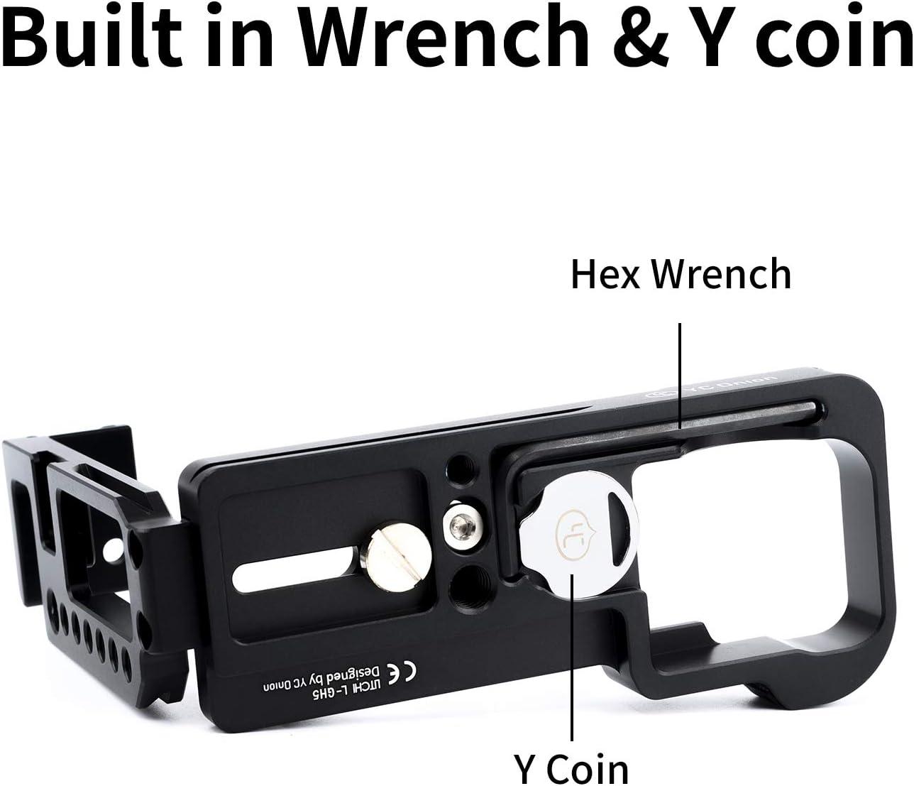 per Panasonic GH5//GH5S, Nero Staffa per fotocamera L Piastra a forma di L per Panasonic GH5 GH5S con piastra Arca Swiss a sgancio rapido Lega di alluminio Nero opaco di YC Onion