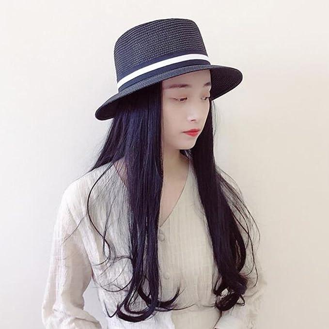 HONEY Cappelli Di Paglia Maschili E Femminili Paglia A Tesa Larga Bombetta  Cappello Estivo Cappello Panama ( Colore   Nero )  Amazon.it  Giardino e ... 99cedd2edf46