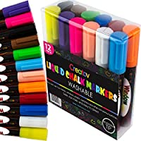 Liquid Chalk Board Window Markers - 12 Pack Erasable Pens Great for Chalkboards - Non Toxic Safe & Easy to Use Neon Bright & Vibrant Colors for All Ages - Creatov