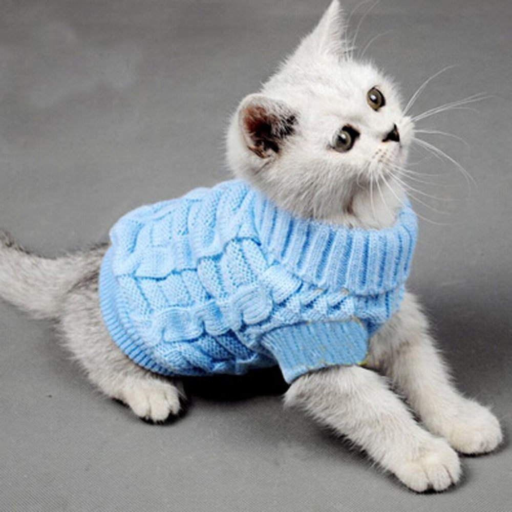 Turtleneck Pet Cats Sweater Aran Pullover Knitted Doggie Kitty Clothes Solid Colors for Kitten Chihuahua Pug XS) LINE-S