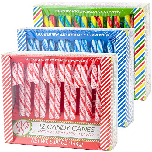 Candy Cane Peppermint, Blueberry & Cherry Flavored | 12 Pieces in Each Box - Net 5.08 Oz Pack of 3 - 36 Total Count | Individually Wrapped (3 Flavors)