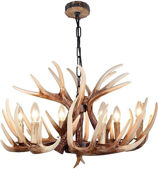 CHIRPSSTAG Vintage Style Resin Deer Horn Antler Chandeliers,6 Lights Bulbs Not Included