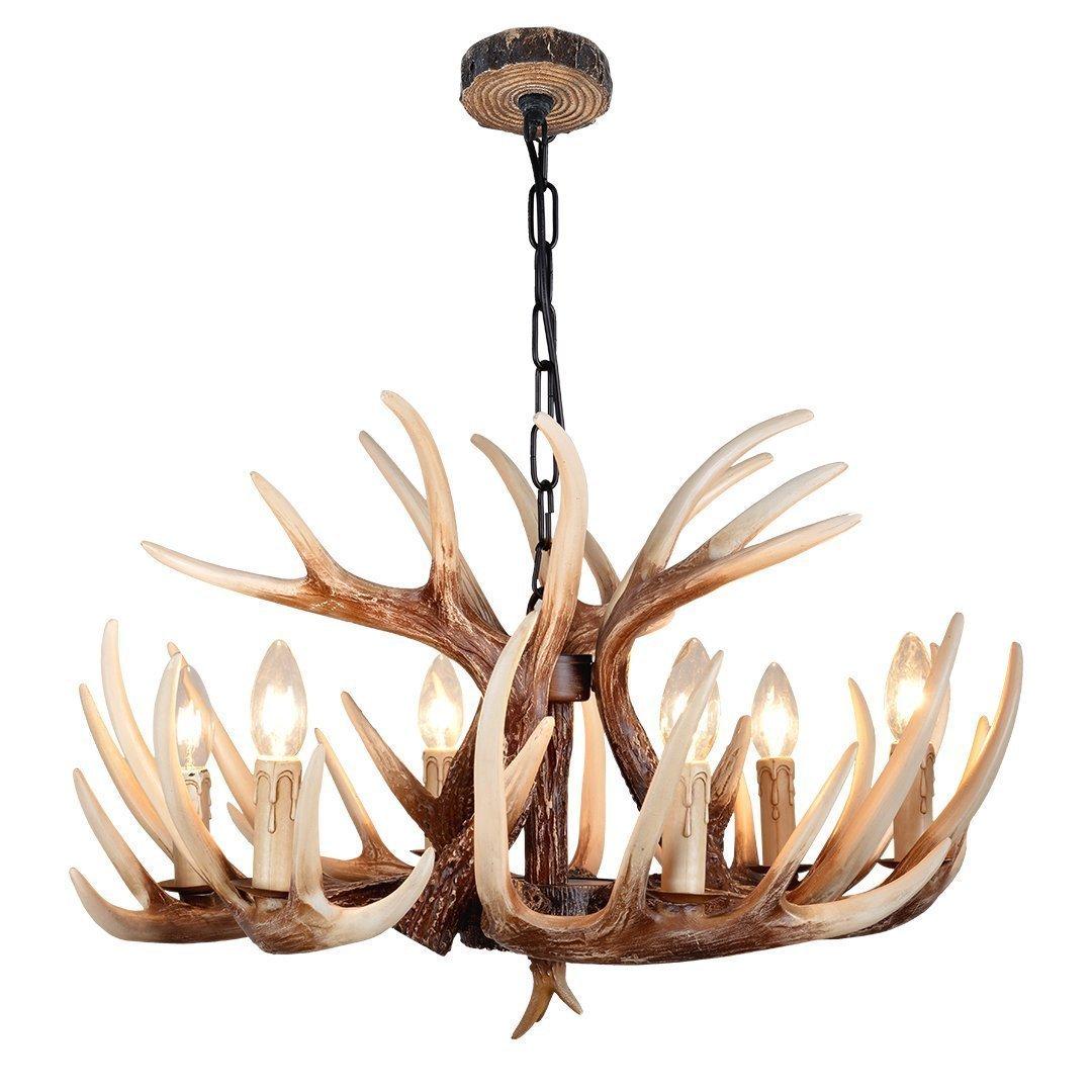 Effortinc vintage style resin deer horn antler chandeliers 6 lights effortinc vintage style resin deer horn antler chandeliers 6 lightsbulbs not included amazon arubaitofo Images
