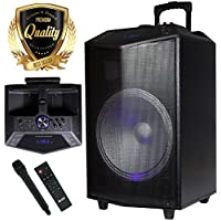 1500W 15 inches Power Party Bluetooth/USB/SD Stereo Rechargeable Portable Speaker - PKL105PK1 - Perfect for Beach/Home/Birthday/DJ Party/Camp/Jobsite/Construction/Industrial