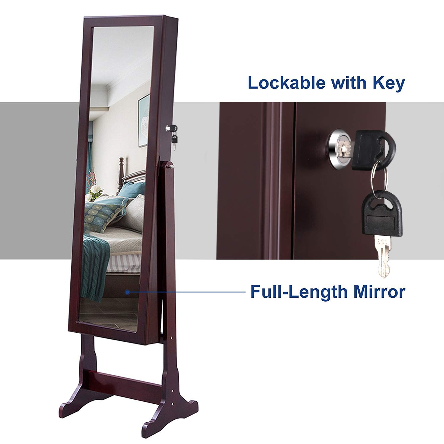 SONGMICS 6 LEDs Mirror Jewelry Cabinet Lockable Standing Mirrored Jewelry Armoire Organizer 2 Drawers Brown UJJC94K by SONGMICS (Image #7)