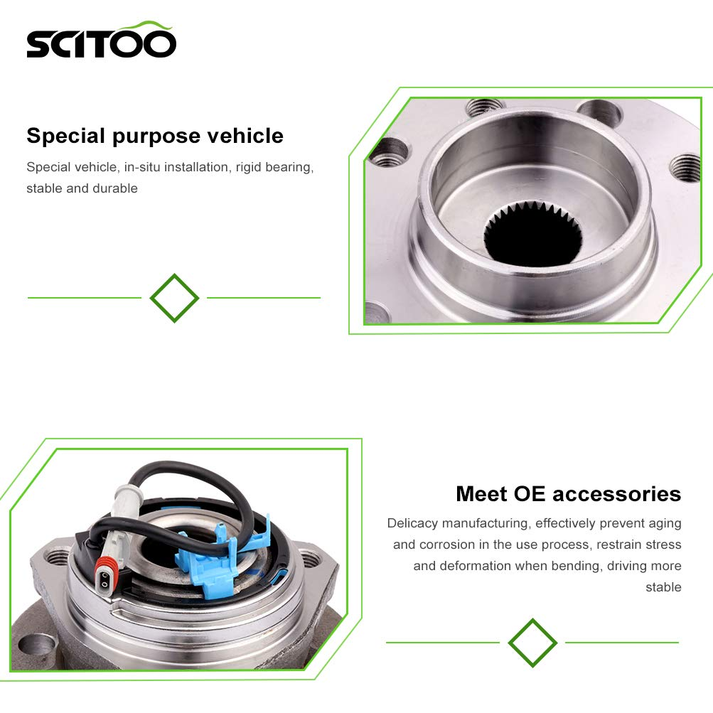 SCITOO Compatible with Front Wheel Bearing Hub 513283 Hub Bearing Hub Assemblies fits 2008-2009 Saturn Astra 1.8L L4 Pack of 2
