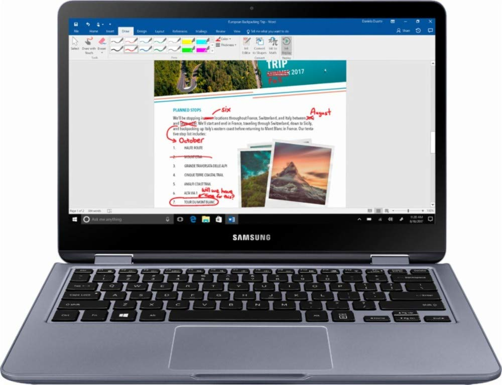 """Samsung Notebook 7 Spin 2-in-1 13.3"""" FHD Touch-Screen Laptop Computer 2018 Newest, 8th Gen Intel Core i5 up to 3.4GHz(Beat i7-7500U), 8GB DDR4, 256GB SSD, Fingerprint Reader, Wifi, Bluetooth, Silver 1"""