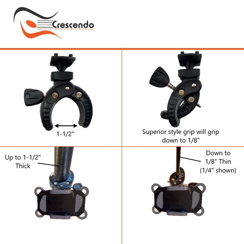 Crescendo CR-30 SlimClip Smart Phone Holder | Mount Clamp for Microphone Stand, Boom, Pole, Mic or Music Stand | Apple iPhone, Samsung Galaxy or Note, Google Pixel, LG, HTC, Moto, OnePlus by Crescendo (Image #6)