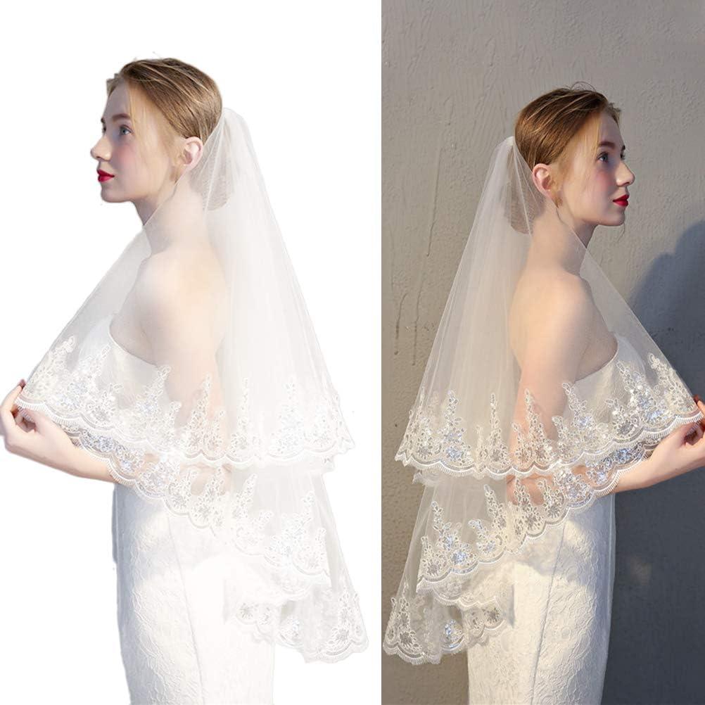 BESTOYARD Semplice velo da sposa in pizzo a doppio strato con velo da sposa
