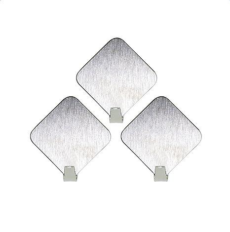 Lumanuby 1 Set de Ganchos Acero Inoxidable Material Ganchos autoadhesivos Amable Color Siber pequeño Albornoz Ganchos Pared clásico Diamante Forma ...