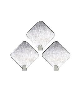 Lumanuby 1Set de Ganchos Acero Inoxidable Material Ganchos autoadhesivos Amable Color Siber pequeño Albornoz Ganchos Pared clásico Diamante Forma diseño, Acero Inoxidable, Plata, 3.1 * 3.1CM