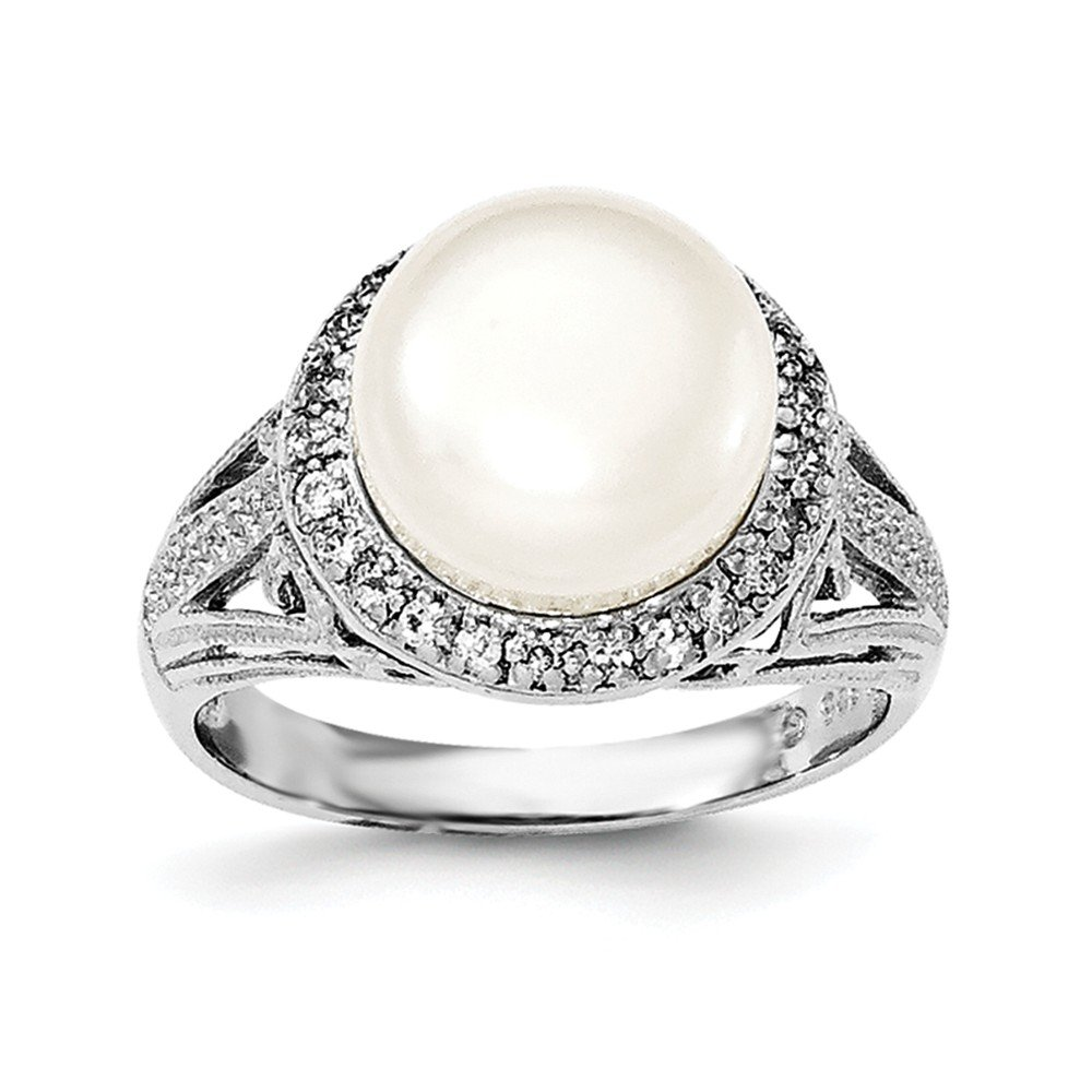Sterling Silver Rhodium-plated 10-11mm White FWC Pearl and CZ Ring Size 7