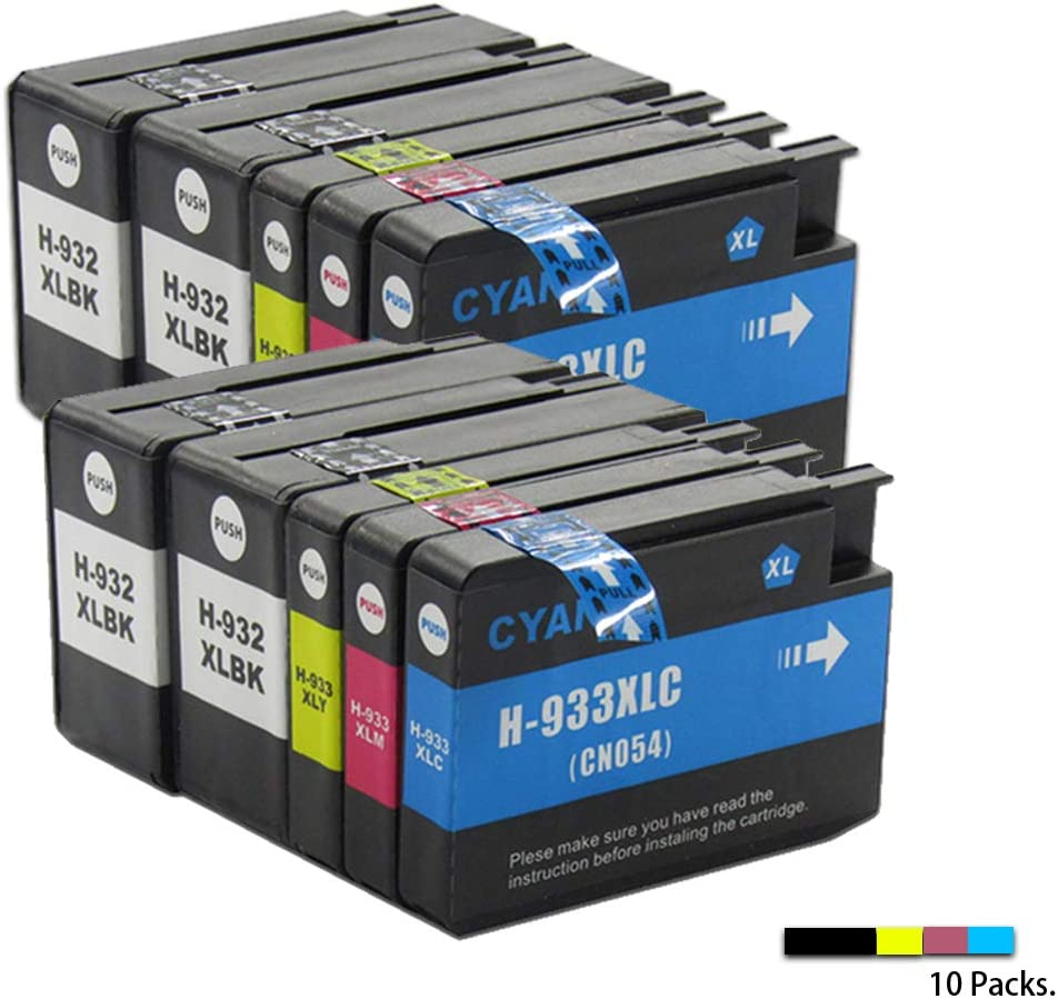 GZH Compatible cartridges for HP 932XL Black 933XL Cyan Magenta Yellow Printer Ink Cartridges Used for HP Officejet 6700 Premium e-All-In-One-10-Pack