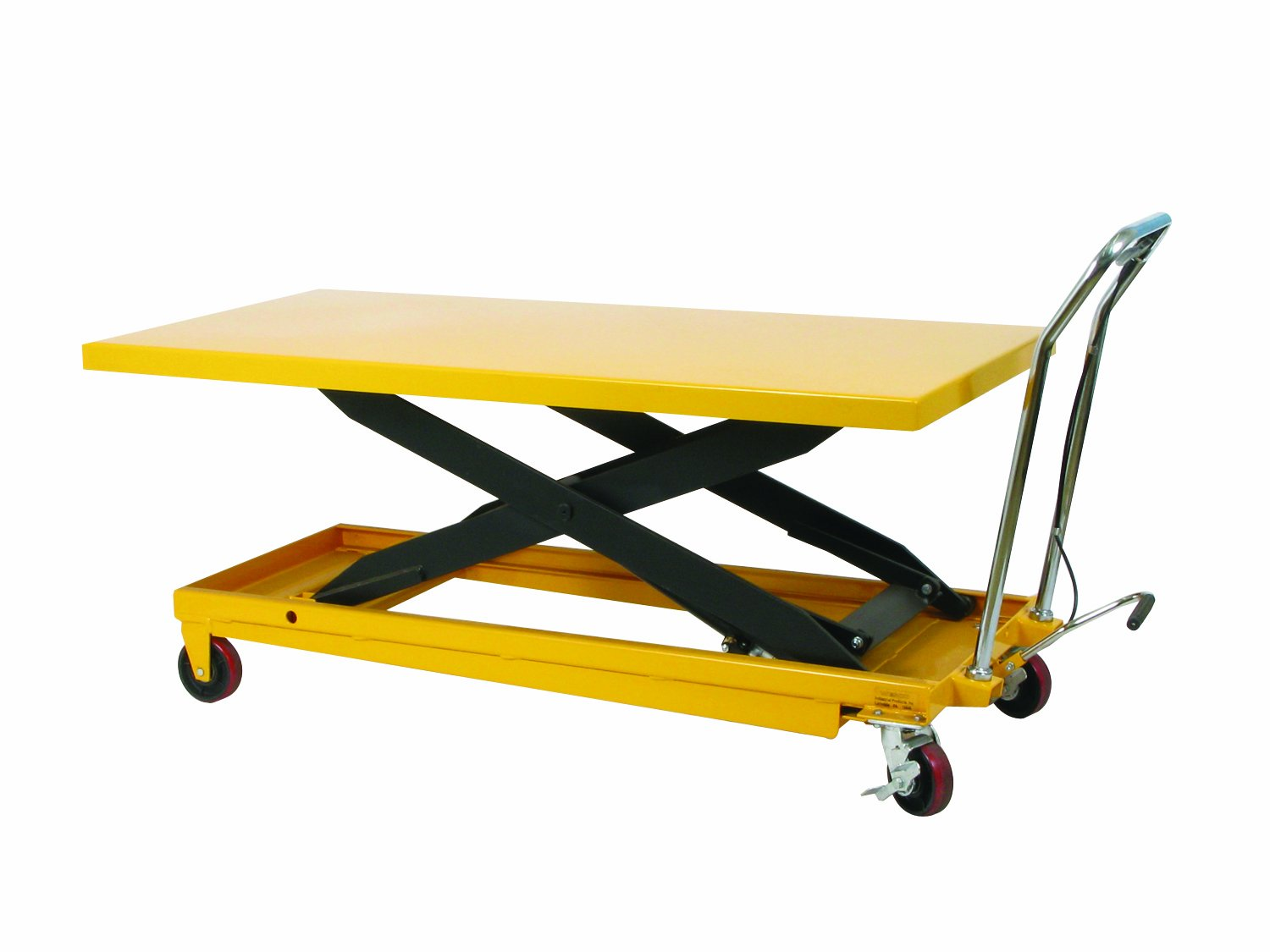 Wesco 273261 Long Scissors Lift Table with Handle, Polyurethane Wheels, 1,100 lb. Load Capacity, 63'' x 32'' Tabletop, 36 Height