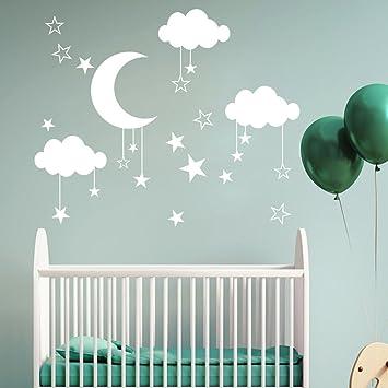 Kingko® DIY Großer Mond Stern Wandtattoos Kinderzimmer Dekoration Kunst  Punkte Zum Kleben Wandtattoo Wandaufkleber Aufkleber