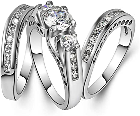 10 Goldenchen Fashion Jewelry Size 6-10 Three-in-One Engagement Rings Set Wedding Rhodium 925 Sterling Silver CZ Crystal Wedding Rings