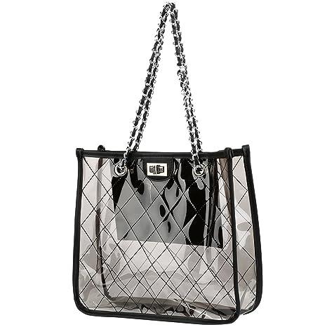 Vbiger Bolso Transparente Mujer Bolso de Mano de PVC Bolsos de Playa Bolso  de Hombro Impermeable ddb112f94d81
