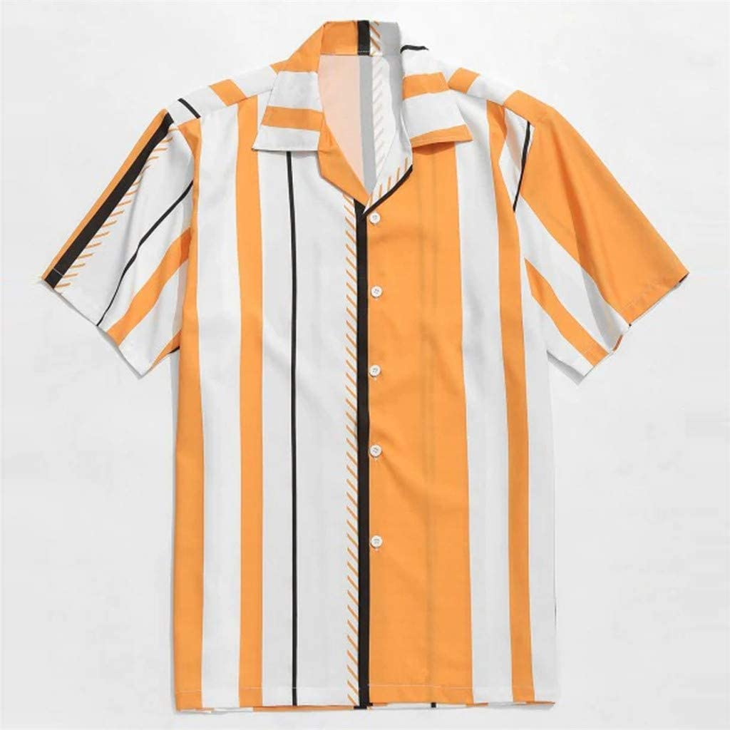 CAOQAO Camisa Manga Corta Hombre Blusa de Solapa con ...