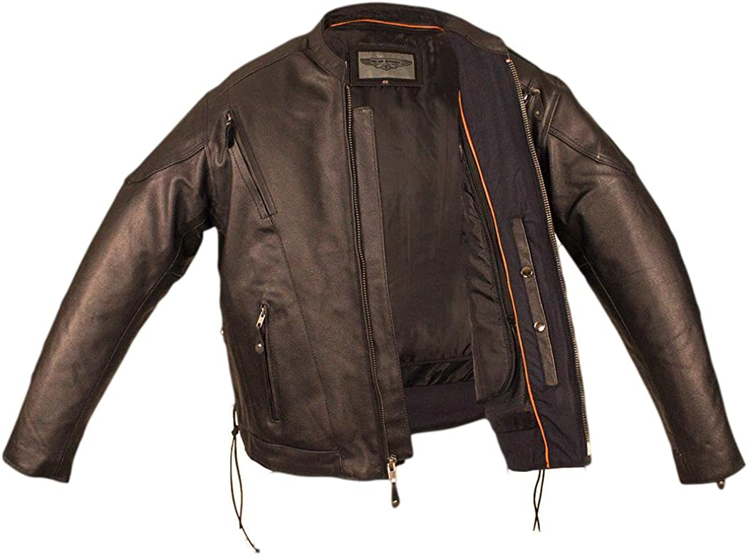 CD D C Mens Motorcycle Biker Leather Racer Jacket with Side Laces Black