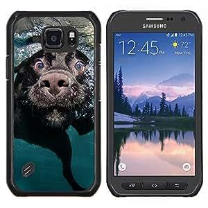 Caucho caso de Shell duro de la cubierta de accesorios de protecci¨®n BY RAYDREAMMM - Samsung Galaxy S6Active Active G890A - Negro Labrador Retriever perro Hocico