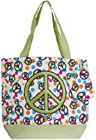 Ever Moda Peace Sign Large Tote Bag (Green)