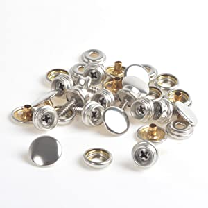 Silver and Gun-Black 8 mm and 10 mm Sumind 80 Sets Metal Snaps Fasteners Press Studs Buttons Sew-on Snaps for Sewing