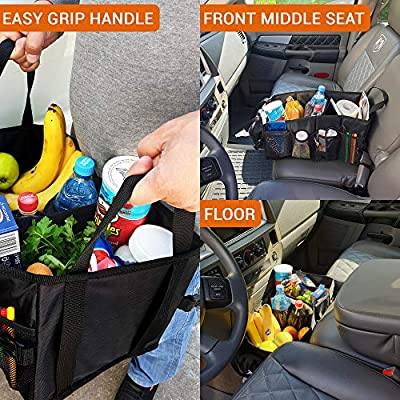 FoxBoxUsa Tote Car Organizer Front Seat with Tissue Box & Cup Holder   Back Seat Car Organizer Between Seats   Passenger Seat Floor Organizer Under Seat   Backseat Police Storage Container: Automotive