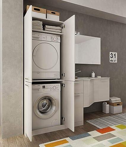 Dafnedesign.com - Mobile Lavanderia Porta Lavatrice e cesti bucato -  Misura: L.206 P.62/35 cm - possibilità di Personalizzare
