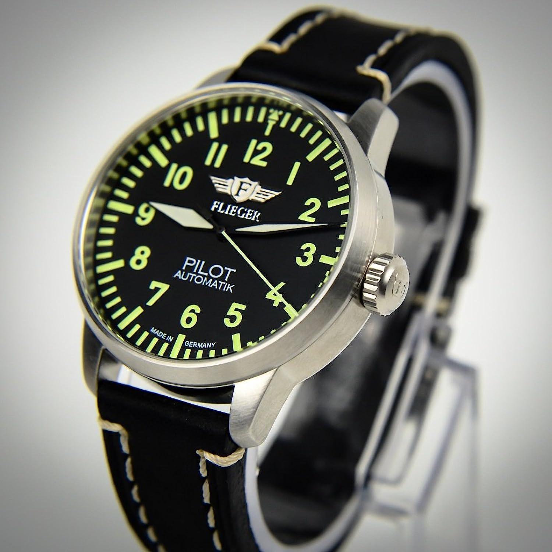 Fliegeruhr Pilot Automatik Uhrenband schwarz mit Naht