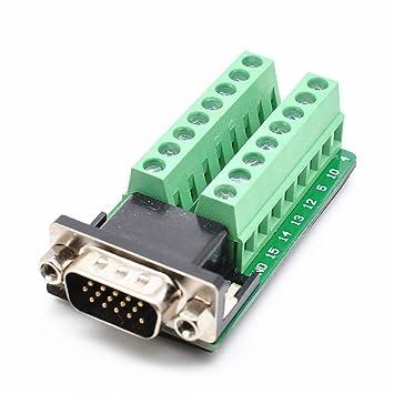 DB15 Female D-SUB 2 Row 15-Pin Plug Breakout Terminal Solderless Connector  fu
