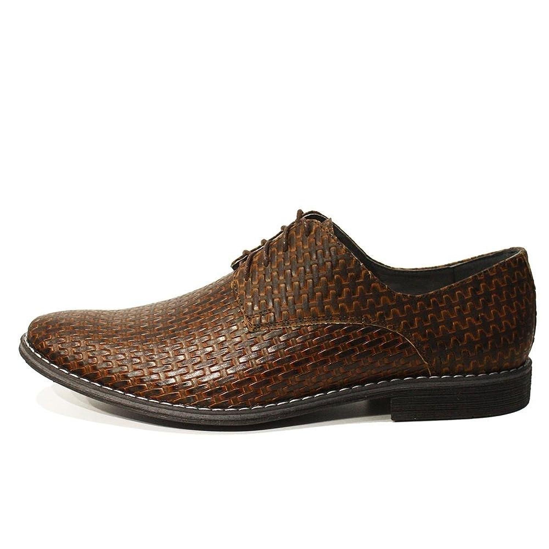 Modello Michele - 45 EU - Cuero Italiano Hecho A Mano Hombre Piel Marrón Zapatos Vestir Oxfords - Cuero Cuero Repujado - Encaje FLhT2ZWn