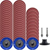 """NYXCL 50Pcs Roloc Quick Change Discs Set, 80 Grits 2 inch A/O Sanding Discs with 1/4"""" Holder, for Die Grinder Surface Prep Strip Grind Polish Finish Burr Rust Paint Removal,Surface Conditioning Discs"""
